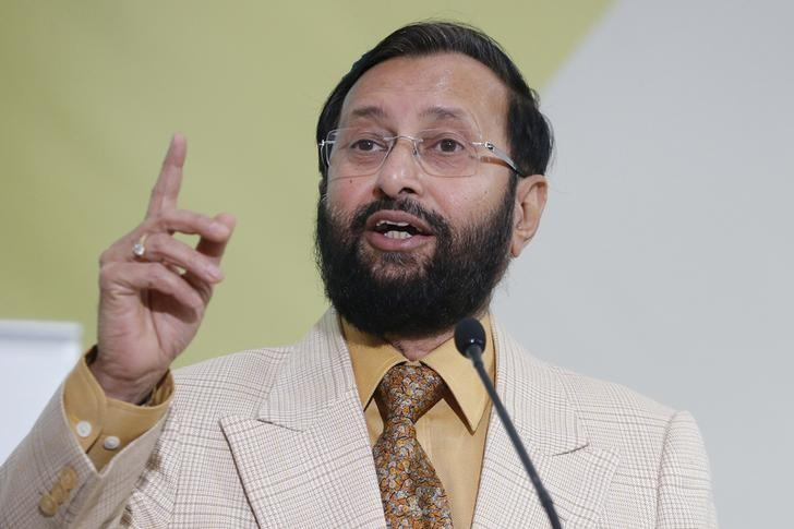 Environment Minister Prakash Javadekar delivers his speech during a meeting at the World Climate Change Conference 2015 (COP21) at Le Bourget, near Paris, France, December 7, 2015. REUTERS/Stephane Mahe/Files