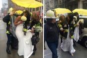 โรงพยาบาลไฟนิวยอร์กพาเจ้าสาวไปงานแต่งงานหลังจากรถเครนล่มสลาย