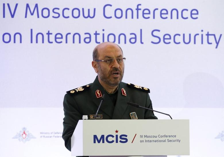 Iranian Defence Minister Hossein Dehghan delivers a speech during the 4th Moscow Conference on International Security (MCIS) in Moscow April 16, 2015. REUTERS/Sergei Karpukhin