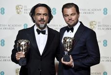 Iñárritu e DiCaprio com o Bafta em Londres  14/2/2016 REUTERS/Toby Melville