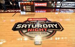 General view of a logo on the court before the NBA All Star Saturday Night at Air Canada Centre. Bob Donnan-USA TODAY Sports