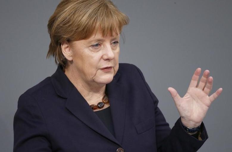 German Chancellor Angela Merkel addresses members of the Bundestag, the lower house of parliament, in Berlin, Germany, February 17, 2016. REUTERS/Hannibal Hanschke