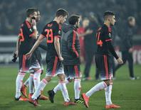 Jogadores do Manchester United após derrota para o Midtjylland.  18/02/16.  REUTERS/Henning Bagger/Scanpix Denmark