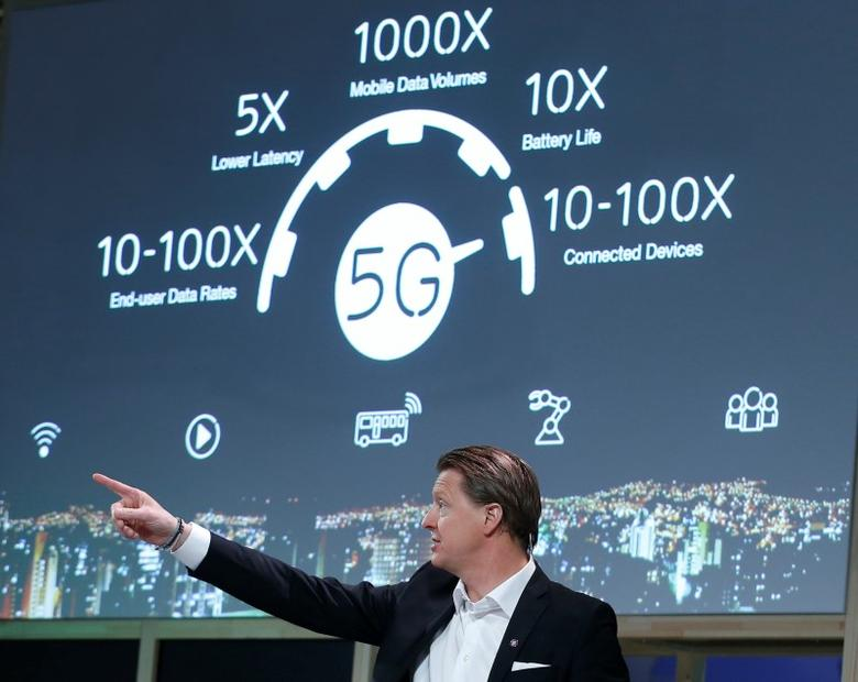 Ericsson's President & CEO Hans Vestberg points during a news conference at the Mobile World Congress in Barcelona, Spain February 22, 2016. REUTERS/Albert Gea