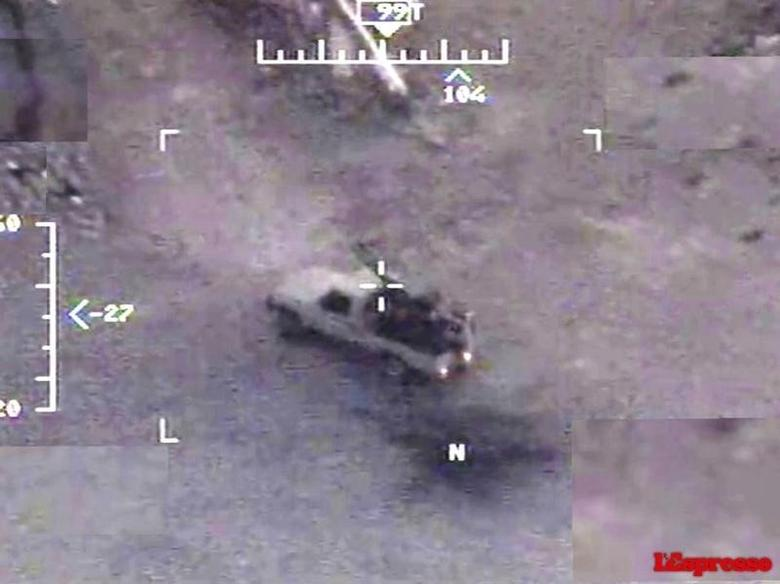 A still image from an Italian Air Force Predator drone video, released December 10, 2015 via Italian magazine L'Espresso, shows images used to pinpoint targets in Islamic State territory in Iraq.  REUTERS/Italian Air Force/courtesy L'Espresso magazine