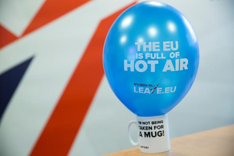A branded balloon and mug are seen in the office of pro-Brexit group pressure group ''Leave.eu'' in London, Britain February 12, 2016. REUTERS/Neil Hall