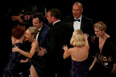"""The cast of the film """"Spotlight"""" react after they won the Oscar for Best Picture at the 88th Academy Awards in Hollywood, California February 28, 2016.    REUTERS/Mario Anzuoni"""