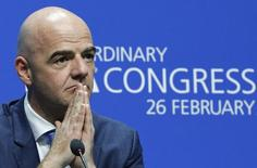 Newly elected FIFA President Gianni Infantino attends a news conference during the Extraordinary FIFA Congress in Zurich, Switzerland February 26, 2016.    REUTERS/Ruben Sprich