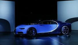 The new Bugatti Chiron car is presented ahead of the 86th International Motor Show in Geneva, Switzerland, February 29, 2016.  REUTERS/Denis Balibouse
