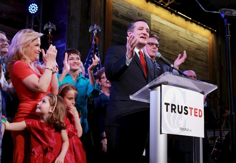Republican U.S. presidential candidate Senator Ted Cruz reacts to the Super Tuesday primary and caucus voting results at a campaign rally in Houston, Texas March 1, 2016. REUTERS/Richard Carson