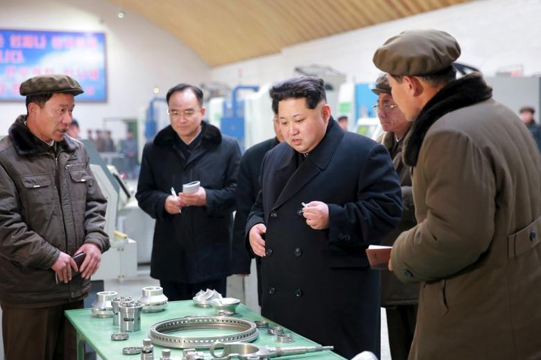 North Korean leader Kim Jong Un (2nd R) visits Taeseung machinery factory in this undated photo released by North Korea's Korean Central News Agency (KCNA) in Pyongyang on March 2, 2016. REUTERS/KCNA
