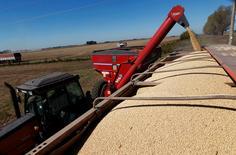 Una cosechadora de granos en un sojal en Chacabuco, Argentina, abr 24, 2013.        REUTERS/Enrique Marcarian