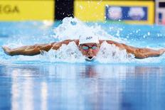 Aug 9, 2015; San Antonio, TX, USA; Michael Phelps swims in the men's 200 meters individual medley (IM) final during the Phillips 66 National Championships at Northside Swim Center. Mandatory Credit: Soobum Im-USA TODAY Sports