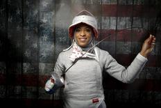 U.S. Olympic team fencer Ibtihaj Muhammad poses for a portrait at the U.S. Olympic Committee Media Summit in Beverly Hills, Los Angeles, California, March 9, 2016. REUTERS/Lucy Nicholson