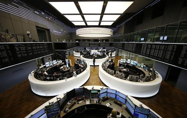 The German share prize index (DAX) board and the trading room of Frankfurt's stock exchange (Boerse Frankfurt) are photographed during afternoon trading session in Frankfurt, Germany, February 23, 2016. REUTERS/Kai Pfaffenbach/Files