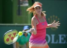 Mar 14, 2016; Indian Wells, CA, USA; Belinda Bencic (SUI) during her match against Magdalena Rybarikova (SVK) at the BNP Paribas Open at the Indian Wells Tennis Garden. Mandatory Credit: Jayne Kamin-Oncea-USA TODAY Sports