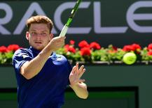David Goffin (BEL) during his 4th round match against Stan Wawrinka (SUI) in the BNP Paribas Open at the Indian Wells Tennis Garden. Goffin won 6-6-3, 5-7, 7-6. Mandatory Credit: Jayne Kamin-Oncea-USA TODAY Sports