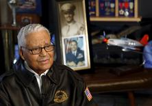 Tuskegee airman and U.S. Air Force fighter pilot Colonel Charles McGee reminisces about his career as a military pilot at his home in Bethesda, Maryland February 17, 2016.  REUTERS/Gary Cameron