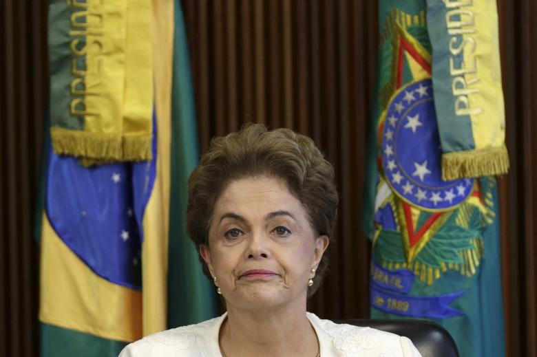 BrazilÕs President Dilma Rousseff looks on during a meeting with mayors at the Planalto Palace in Brasilia, Brazil March 4, 2016. REUTERS/Ueslei Marcelino