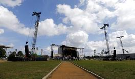 A view of the stage to be used for the Rolling Stones' free outdoor concert on March 25 at Ciudad Deportiva de la Habana sports complex, Havana, March 19, 2016. REUTERS/Ivan Alvarado