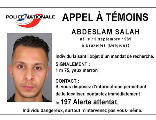 A handout picture shows Belgian-born Abdeslam Salah seen on a call for witnesses notice released by the French Police Nationale information services on their twitter account November 15, 2015. REUTERS/POLICE NATIONALE/HANDOUT VIA REUTERS