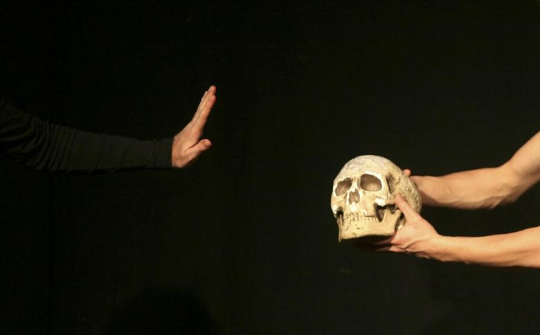An actor performs during William Shakespeare's theatre play ''Hamlet'' at the Jerusalem Centre for the Performing Arts in this file photograph dated December 11, 2008. REUTERS/ Eliana Aponte/files