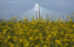 """El Ibex-35 cerró el martes con una leve subida en su primera jornada tras los festivos de Semana Santa, en una volátil sesión impulsada por las alzas de OHL, Telefónica o Abengoa, entre otros valores seleccionados, que se vieron compensadas por la debilidad de la banca y los valores ligados al petróleo. En la imagen, una torre que pertenece a Abengoa en la planta solar """"Solucar"""" en Sanlúcar la Mayor, cerca de Sevilla, el 4 de marzo de 2016.  REUTERS/Marcelo del Pozo"""