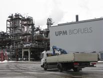 A maintenance truck seen at UPM-Kymmene's biofuel plant in Lappeenranta, Finland, March 9, 2016.  REUTERS/Jussi Rosendahl