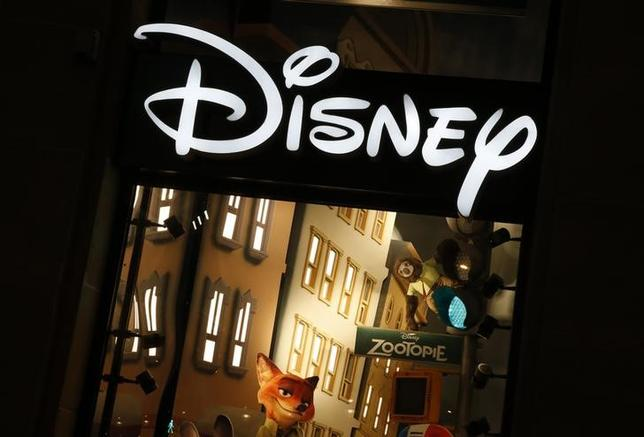 The logo of the Disney store on the Champs Elysee is seen in Paris, France, March 3, 2016.   REUTERS/Jacky Naegelen
