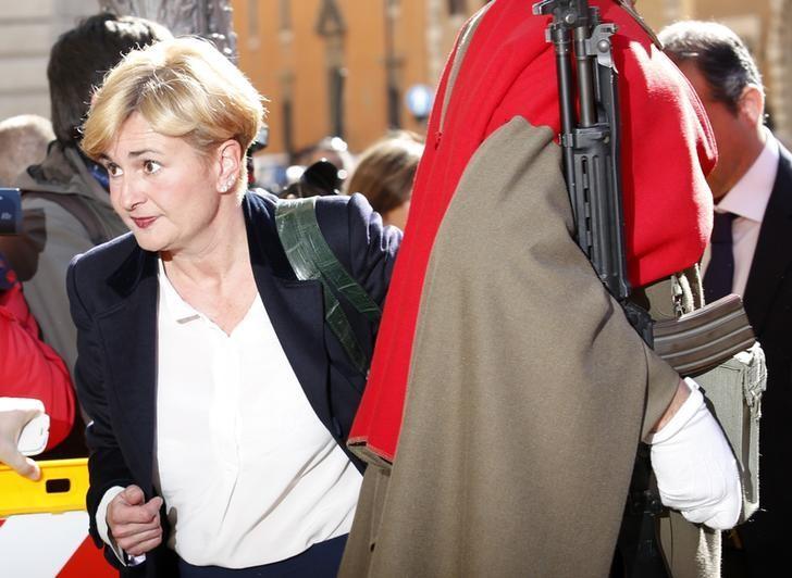 Italy's Minister of Economic Development Federica Guidi arrives for a confidence vote at the Senate in Rome February 24, 2014. REUTERS/Remo Casilli