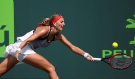 Mar 26, 2016; Key Biscayne, FL, USA; Petra Kvitova hits a forehand against Ekaterina Makarova (not pictured) at Crandon Park Tennis Center. Mandatory Credit: Geoff Burke-USA TODAY Sports - RTSCC5V