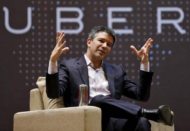 Uber CEO Travis Kalanick speaks to students during an interaction at the Indian Institute of Technology (IIT) campus in Mumbai, India, in this January 19, 2016 file photo. REUTERS/Danish Siddiqui