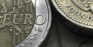 En la imagen, una moneda de dos euros junto a una de una libra, en una foto tomada el 16 de marzo de 2016. Si los británicos votan a favor de abandonar la UE, el centro financiero de Londres podría perder uno de sus negocios más activos, el comercio de billones de euros en derivados, y el Banco Central Europeo presionará con fuerza para que el negocio se mueva a su territorio. REUTERS/Phil Noble/Illustration