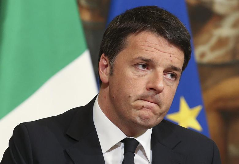 Italian Prime Minister Matteo Renzi speaks condemning the attacks in Belgium, during a news conference at Palazzo Chigi in Rome, Italy, March 22, 2016.  REUTERS/Stefano Rellandini