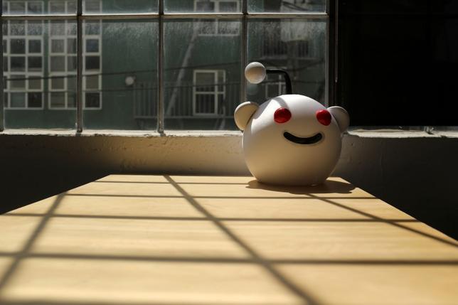 A Reddit mascot is shown at the company's headquarters in San Francisco, California April 15, 2014.  REUTERS/Robert Galbraith