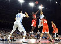 Apr 2, 2016; Houston, TX, USA; North Carolina Tar Heels forward Brice Johnson (11) battles for the ball with Syracuse Orange forward Tyler Roberson (21) in the second half in the 2016 NCAA Men's Division I Championship semi-final game at NRG Stadium. Mandatory Credit: Robert Deutsch-USA TODAY Sports
