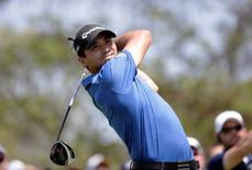 Jason Day of Australia tees off against Brooks Keopka of the United States in round five of the World Golf Championship-Dell Match Play at the Austin Country Club.  Erich Schlegel-USA TODAY Sports