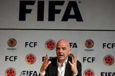 FIFA President Gianni Infantino gestures during a news conference at the Colombian Football Confederation headquarters n Bogota, Colombia, March 31, 2016. REUTERS/John Vizcaino