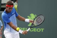 Mar 25, 2016; Key Biscayne, FL, USA; Juan Martin Del Potro hits a backhand against Horacio Ceballos (not pictured) during day four of the Miami Open at Crandon Park Tennis Center. Ceballos won 6-4, 6-4. Mandatory Credit: Geoff Burke-USA TODAY Sports