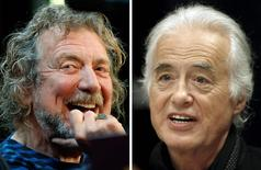 Lead singer Robert Plant (L) and guitarist Jimmy Page of the British rock band Led Zeppelin are shown in these October 9, 2012 and July 21, 2015 combination file photos in New York and Toronto.   REUTERS/Carlo Allegri, Hans Deryk