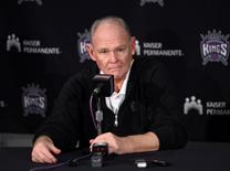 Mar 13, 2016; Sacramento, CA, USA; Sacramento Kings coach George Karl reacts at a press conference after an NBA game against the Utah Jazz at Sleep Train Arena. The Jazz defeated the Kings 108-99. Mandatory Credit: Kirby Lee-USA TODAY Sports