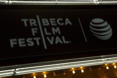 """The marquee is seen at world premiere of the film """"Live From New York"""" at the 2015 Tribeca Film Festival, in New York April 15, 2015.  REUTERS/Andrew Kelly - RTR4XIY7"""