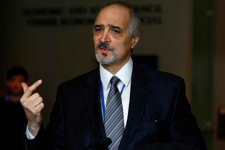 Syrian Ambassador to the U.N. Bashar Ja'afari talks to the media after a briefing on Syria at U.N. headquarters in New York March 14, 2014.   REUTERS/Shannon Stapleton