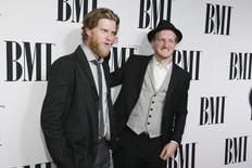 """Songwriters and musicians Wesley Schultz (L) and Jeremiah Fraites (R) of the folk rock band """"The Lumineers"""" pose at the 62nd Annual BMI Pop Awards in Beverly Hills, California, May 13, 2014. REUTERS/Danny Moloshok"""