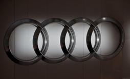 The Audi logo during the annual news conference in the Bavarian city of Ingolstadt March 3, 2016.  REUTERS/Michael Dalder
