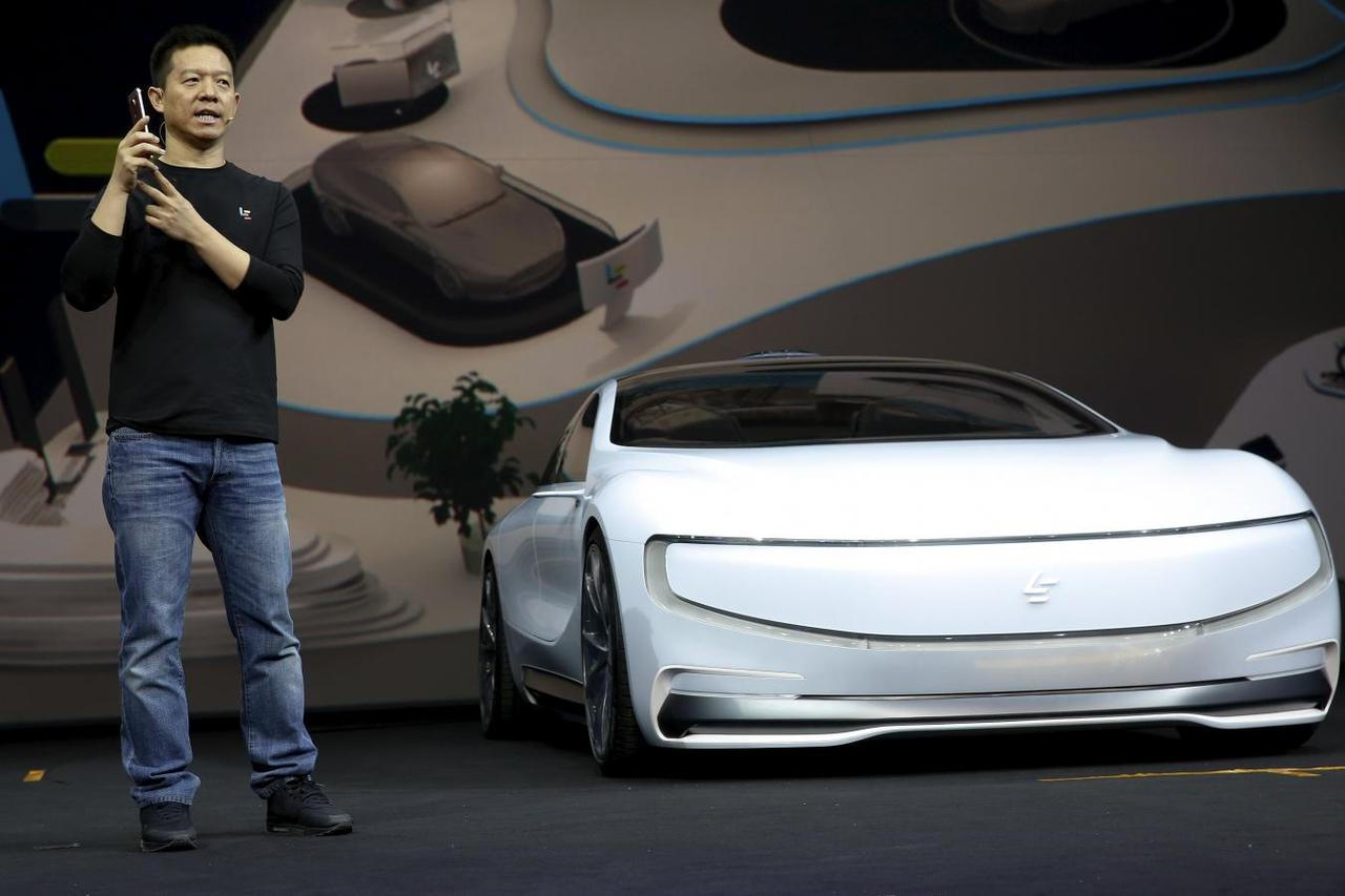 Jia Yueting Co Founder And Head Of Le Holdings Ltd Also Known As Leeco Formerly Letv Gestures He Unveils An All Electric Battery Concept