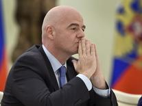 FIFA President Gianni Infantino attends a meeting with Russian President Vladimir Putin at the Kremlin in Moscow, Russia, April 20, 2016. REUTERS/Alexander Nemenov/Pool