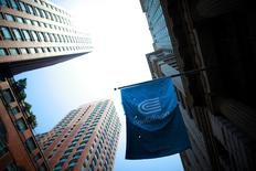 A Con Edison company flag is seen in New York July 1, 2012. REUTERS/Eric Thayer