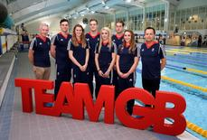 Swimming - Team GB - Rio 2016 Swimming Team Announcement - University of Bath - 21/4/16 (L-R) Great Britain's Bill Furniss, James Guy, Jazz Carlin, Andrew Willis, Siobhan Marie O'Connor, Chris Walker, Chloe Tutton and Chris Spice pose Action Images via Reuters / Henry Browne Livepic