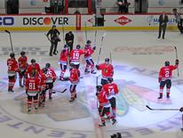 Apr 23, 2016; Chicago, IL, USA; The Chicago Blackhawks celebrate their victory following the conclusion of the third period in game six of the first round of the 2016 Stanley Cup Playoffs against the St. Louis Blues at the United Center.  Mandatory Credit: Dennis Wierzbicki-USA TODAY Sports